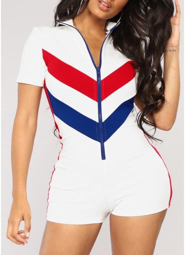 de7d7e041c88 Women Crochet Color Rompers Zipper Front Jumpsuit Playsuit Bodysuit Overalls  One-Piece Outfit