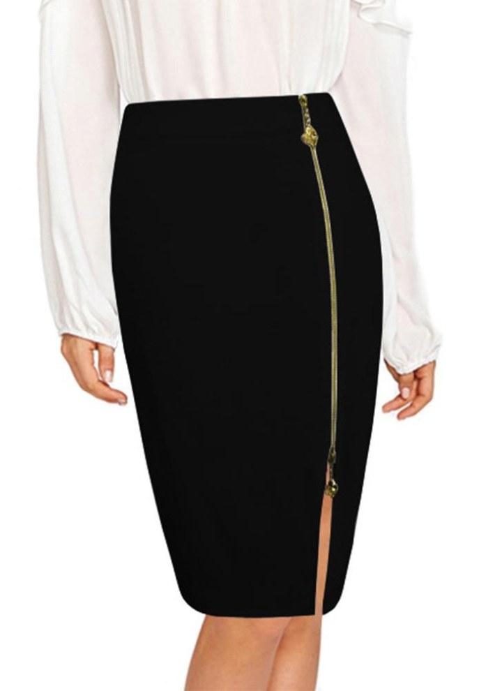 a3d1ca047 Nuevas mujeres atractivas cintura alta cremallera frontal Bodycon falda de  color sólido vendaje pequeña raja Midi falda