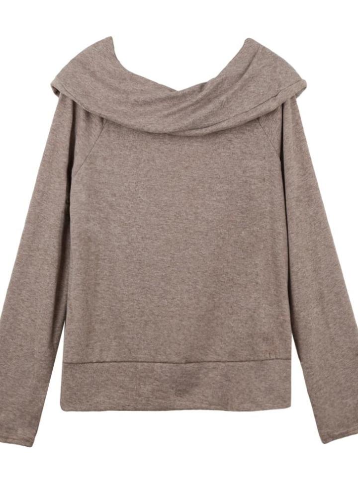 9b0dd9e9959 Mode Frauen verlieren Sweater von Schulter Slash Neck Langarm Herbst Winter  warme Jacke Pullover grau