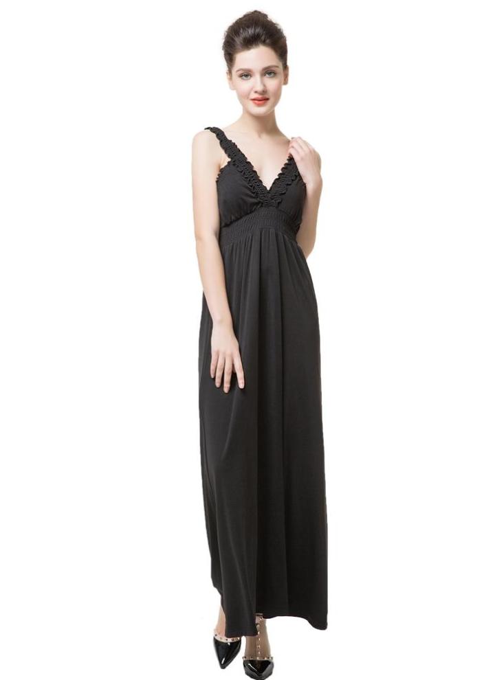 Nuova moda donna senza maniche abito profondo scollo a v volant Abito Sexy  lungo nero 617c1d8908a