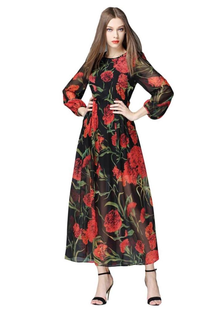 Moda donna abito in Chiffon stampa floreale rotondo collo Puff Sleeve  cerniera posteriore interno foderato Maxi 6201ba8ac5a