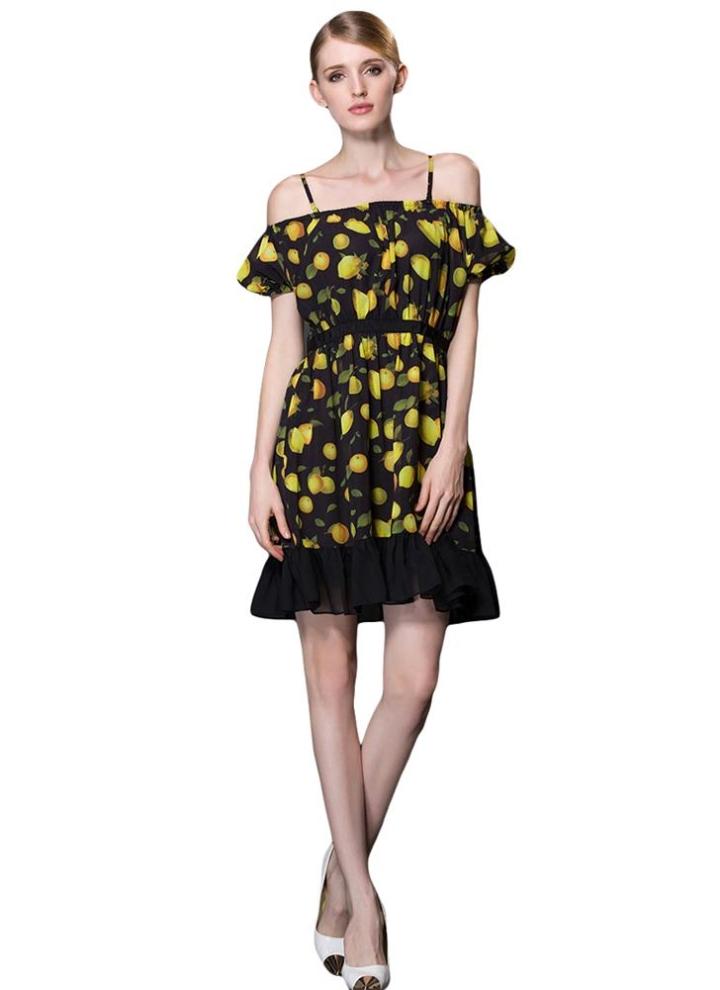 Nuova moda Chiffon donna abito Spaghetti Strap Slash collo volant orlo  fuori spalla Mini abito nero bc088b858dc