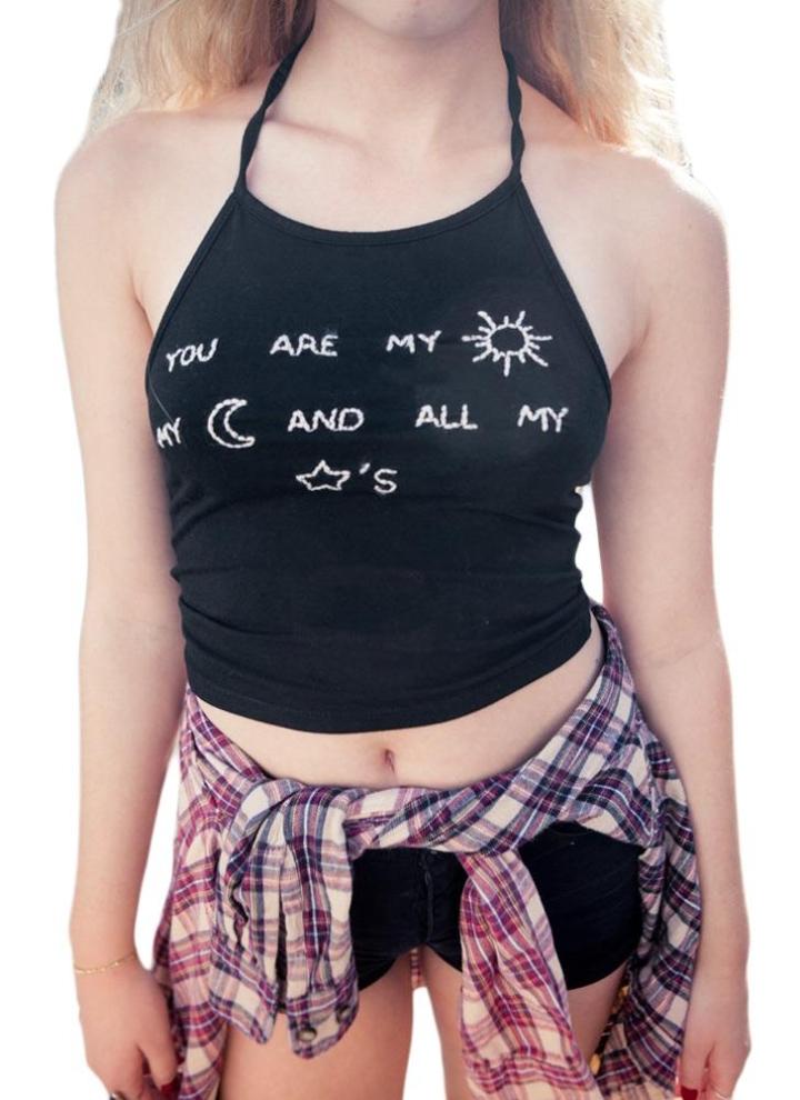 ac22d28e6fe92 xl black Letter Print Sleeveless Backless Halter Black Crop Top - Chicuu