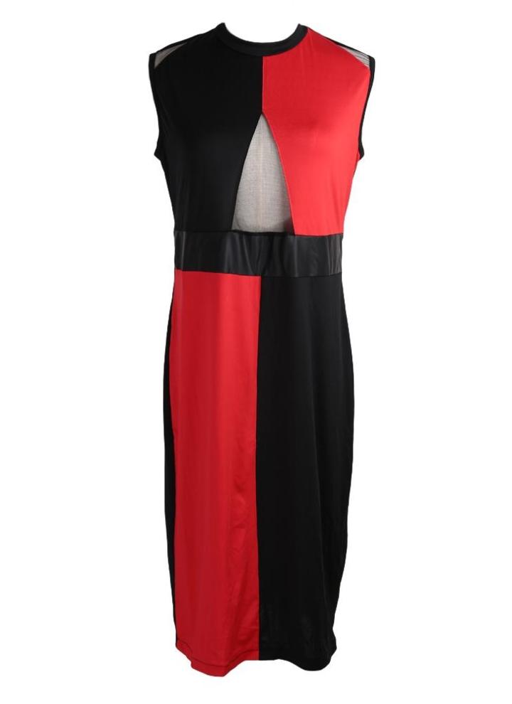 ee9c9b516593 Neue Mode Frauen kleiden Kontrast Farbe Mesh Spleißen Hollow Reißverschluss  Größe O-Neck ärmelloses Kleid