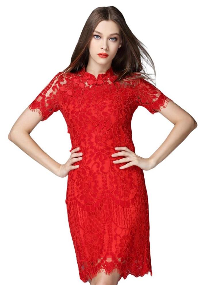 rojo cuello corta encaje manga botón mujer rana l vestido Moda Mao PqgPXd