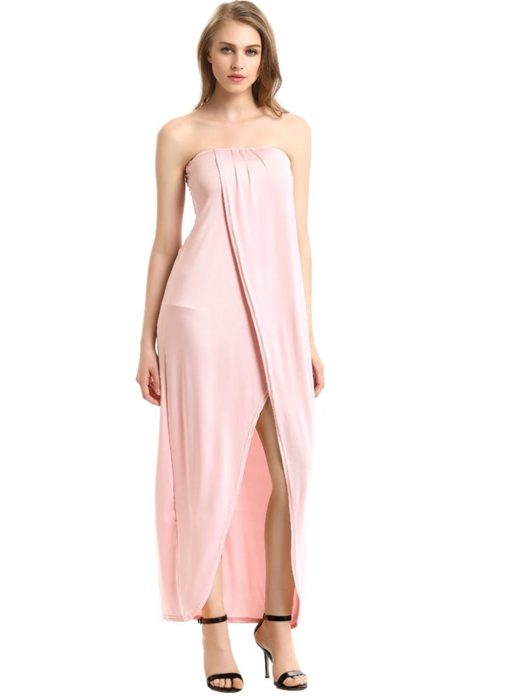 2a514e2147f7 m pink Strapless Bandeau Off Shoulder Draped Asymmetric Prom Gown Dress -  Chicuu