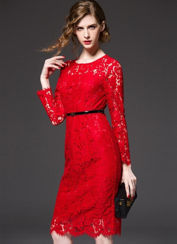Nuove donne elegante pizzo abito cava fuori girocollo manica lunga Bow  cerniera posteriore interno foderato raso 4215538d8ca