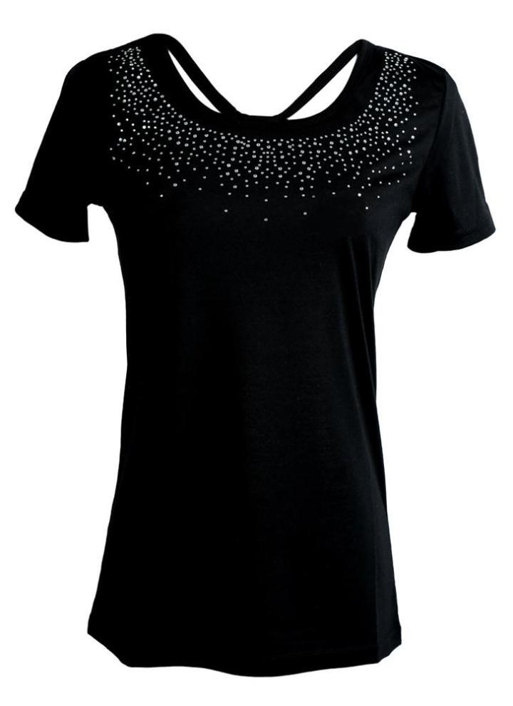 b3eafa2c6b798d Nuova donna t-shirt strass O-collo manica corta Design perline Casual Top t