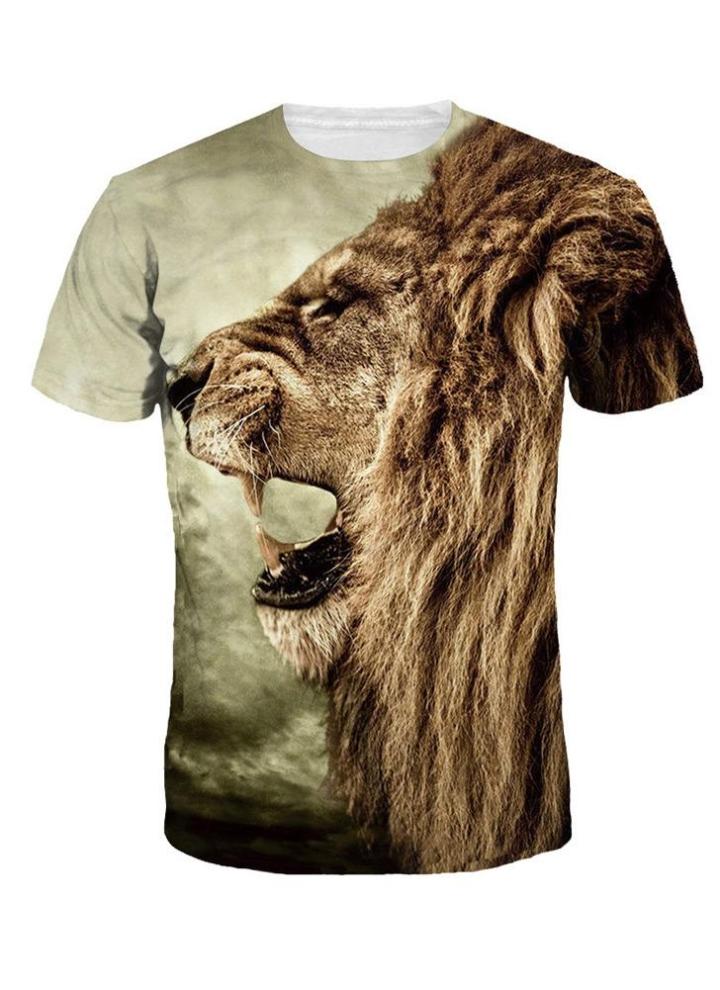 8014e5a0e0f Nueva moda mujeres hombres Casual camiseta 3d manga corta impresión pecho  peludo hamburguesa del León Top