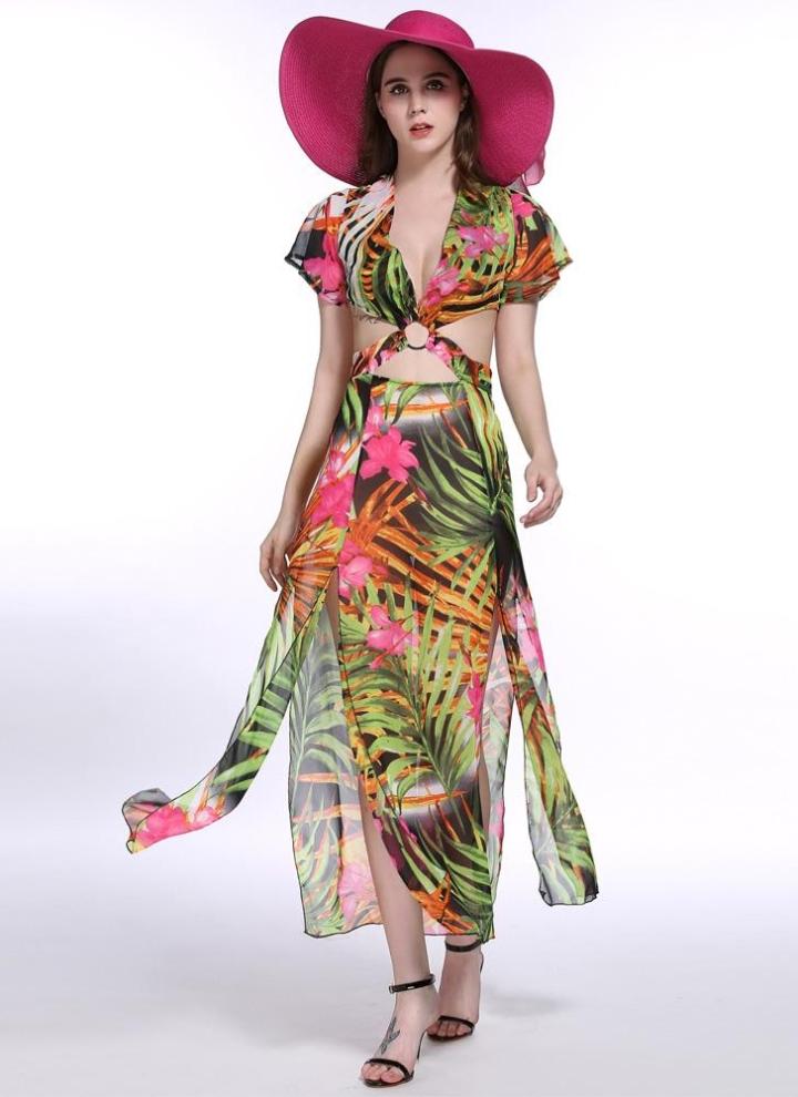ca01fac12 Nueva Europa mujeres Sexy vestido Maxi hojas impresión profunda V cuello  corte transversal CINTURA partida Casual elegante ropa Vestido largo verde