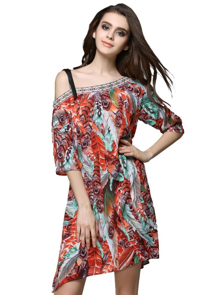 Nuova estate donna Mini abito in Chiffon Leaf stampa Off spalla mezza manica  Boemia Loose Beach deb2168962b