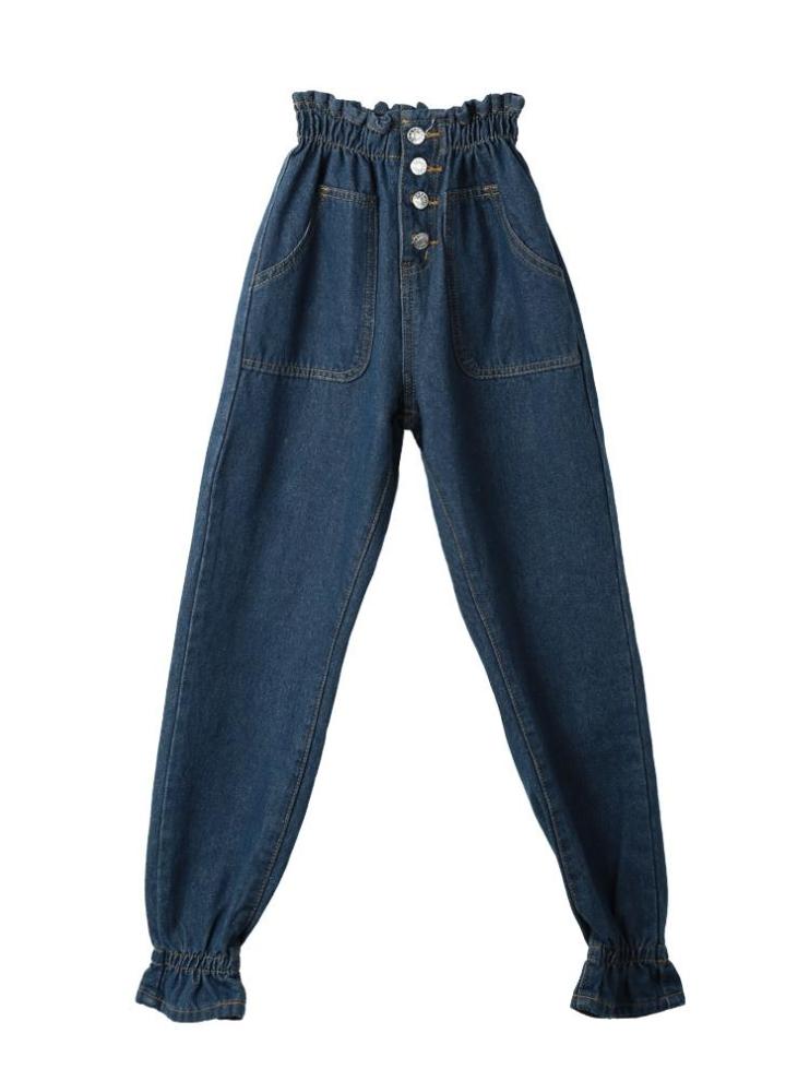 Nueva moda mujer Jeans cintura alta elastizada puños botones tobillo  longitud pantalones casuales Slim azul oscuro 9dba8a5069a5