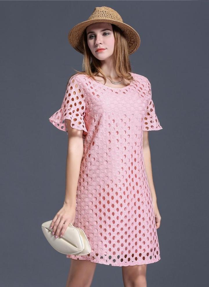 xxxl rosado Nueva moda mujer vestido Mini Plus tamaño ojete ahueque ...