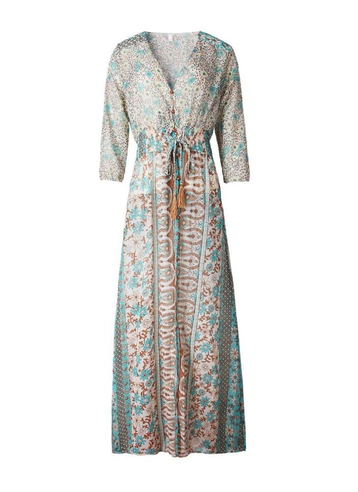 l blau Nueva moda mujeres Vintage gasa vestido Floral impresión ...