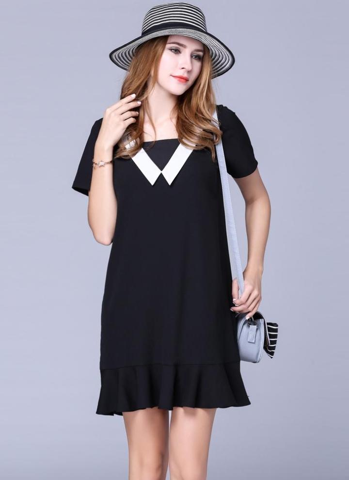 0d6acb23da7 Moda mujer Plus tamaño Vestido de Gasa contraste con cuello en v manga  corta Peplum dobladillo