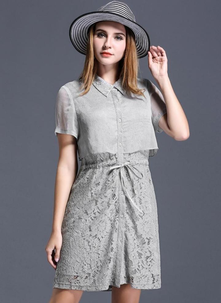 Le donne più dimensioni pizzo abito couverture collare maniche corte  Crochet pizzo elegante abito grigio eefddf532e4