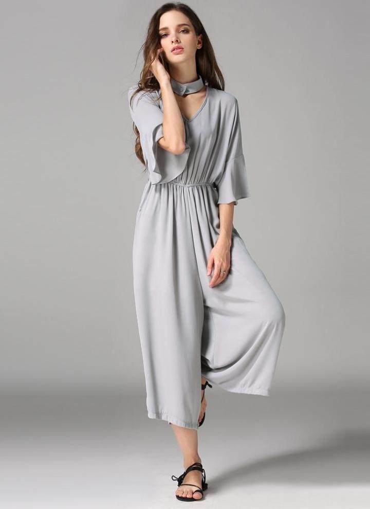882ad2561bce Nova moda mulheres macacão do Chiffon v-Neck gargantilha Flare meia mangas  bolsos elástico na