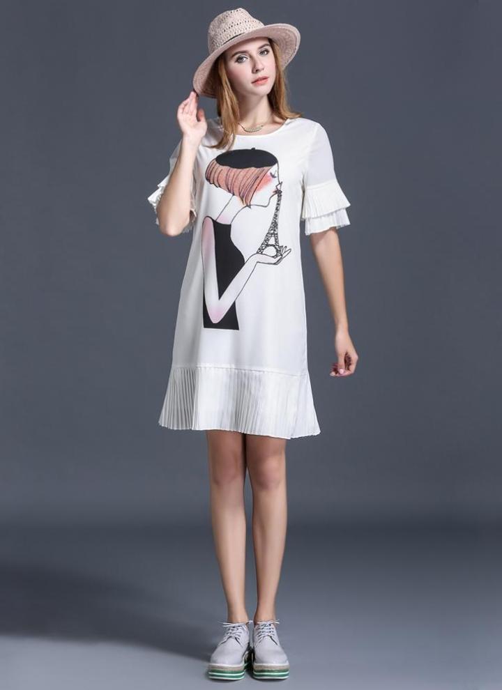 Dolce donne Plus Size abito ragazza stampa pieghe Trim maniche O collo  allentato dritto Mini abito 5e905d6acb3