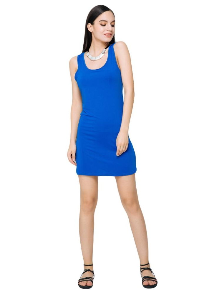 497e5474463c4 Casual color sólido O cuello sin mangas Stretchy Bodycon mini vestido azul