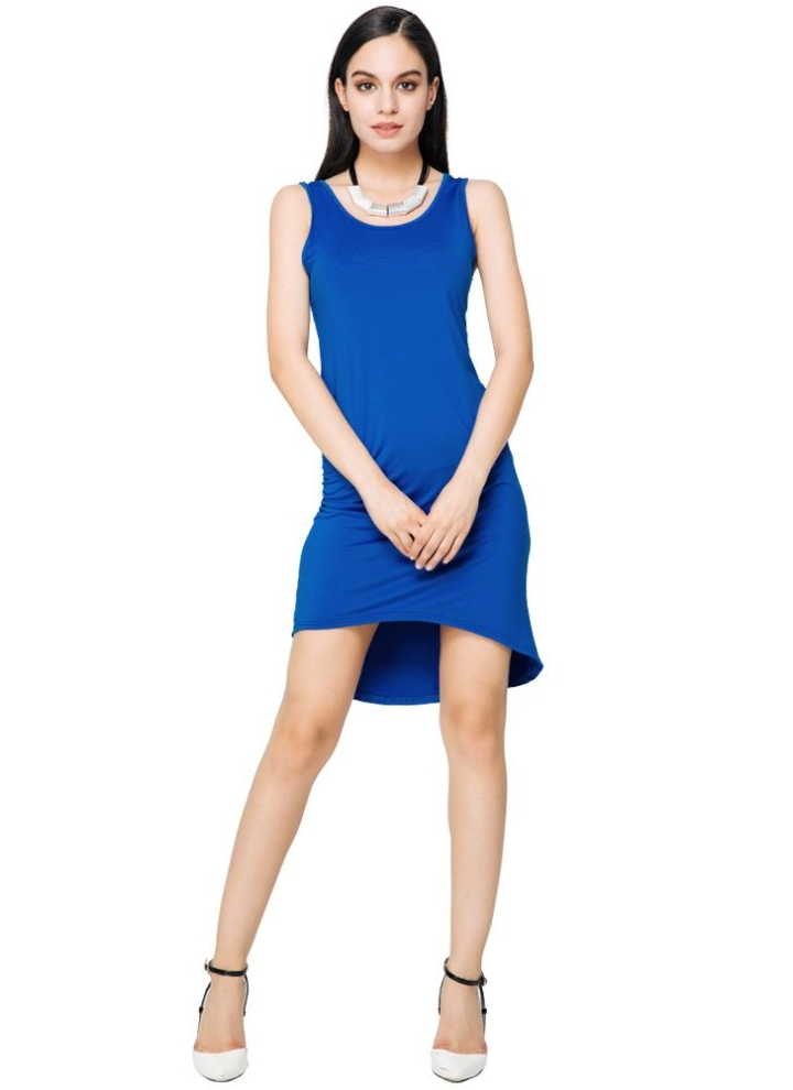 Dress Stretchy Ruched Asymmetrical Sleeveless Hem Blue Mini Summer nmw0N8v