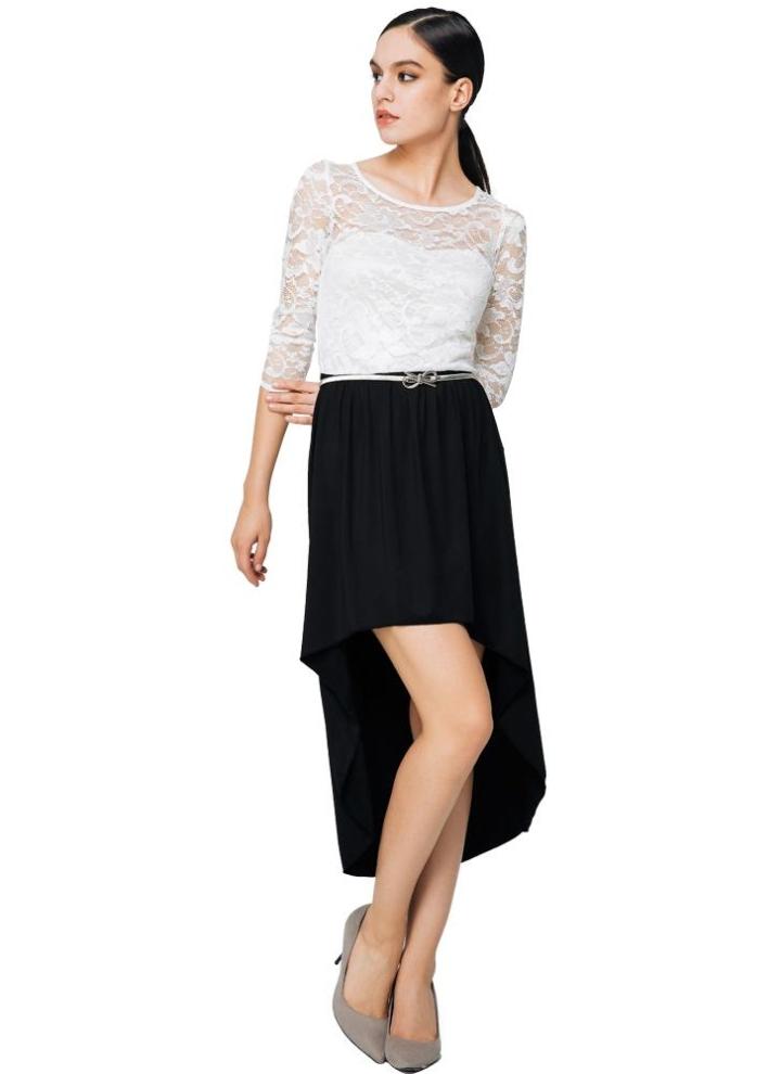 l weiß Neue Art und Weise Frauen-Kleid mit Spitzeneinsatz aushöhlen ...
