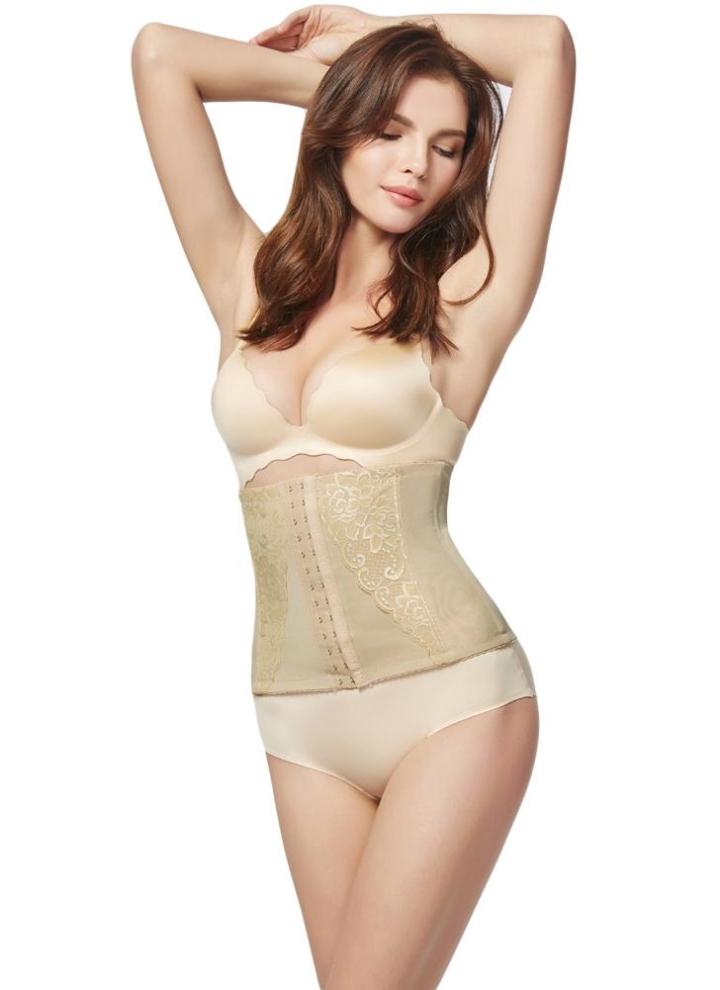f7bb2b11f6a99f Lace Underbust Control Corset Breathable Slimming Belt Shapewear