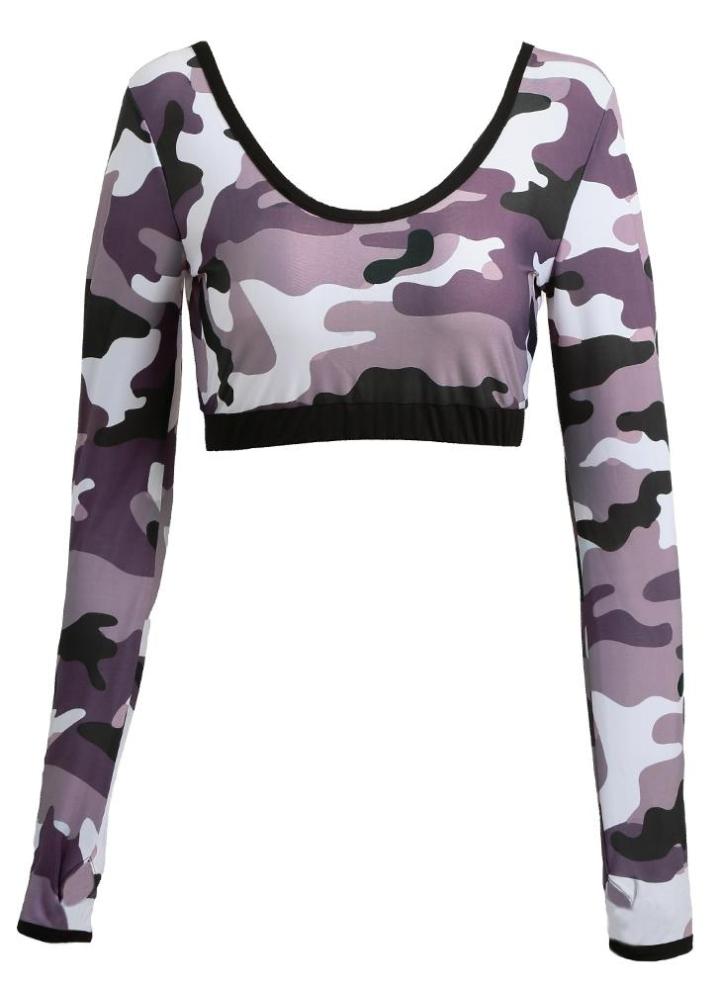 f523b90c3a89e Crop femme manches longues Top Camo Print Workout Gym Fitness Sport Yoga  Casual Top Noir /