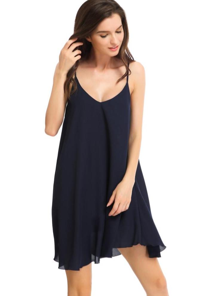 93808ccf5 Vestido de espalda sin mangas atractivo de la gasa del V-cuello