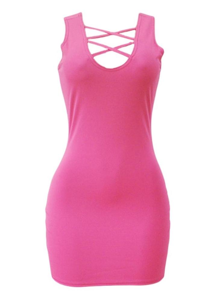 s rosa Las mujeres atractivas vestido bodycon correa cruzada de ...