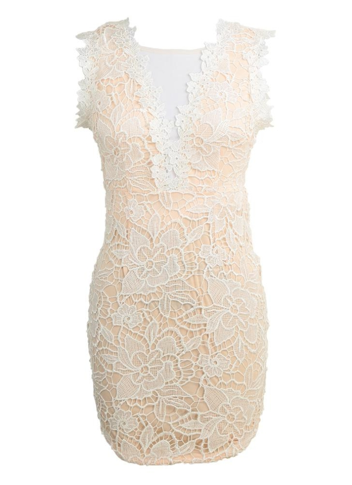 879821197d2204 Sexy Double Deep V-neck Mesh Front Lace Dress