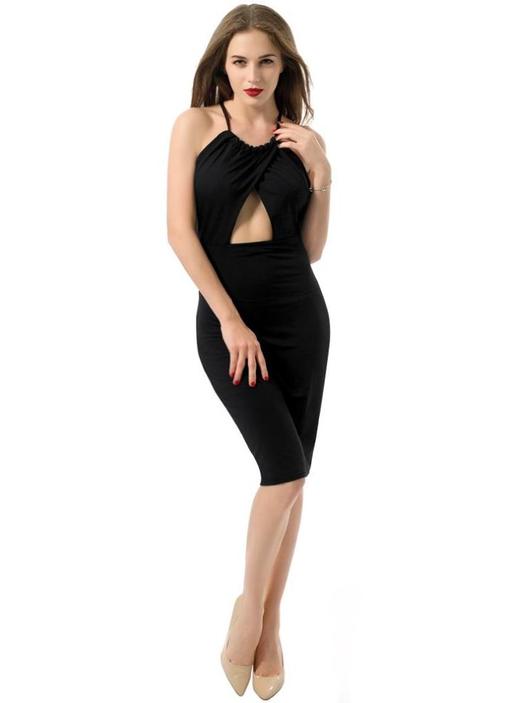85f417e20b14ac Neue Frauen-Kleid-Kreuz-Front-aushöhlen Cut-Out Rückenbandage Neckholder  Etuikleid