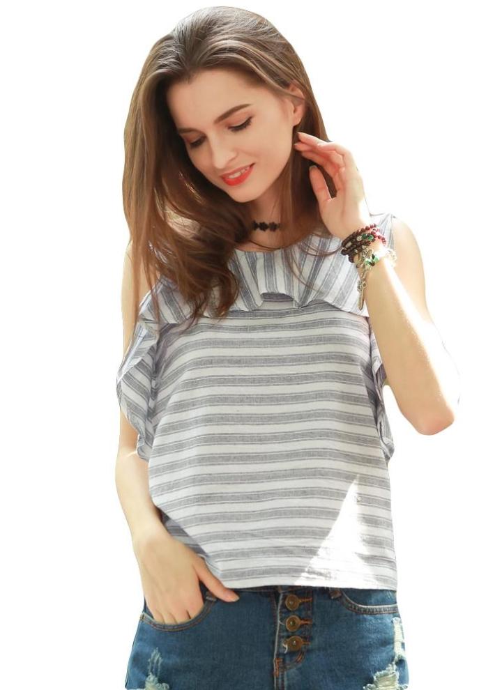 7648201b2b0 Новая мода Женщины футболку нашивки печати Раффлед вокруг шеи без рукавов  на молнии Блуза Топ Белый
