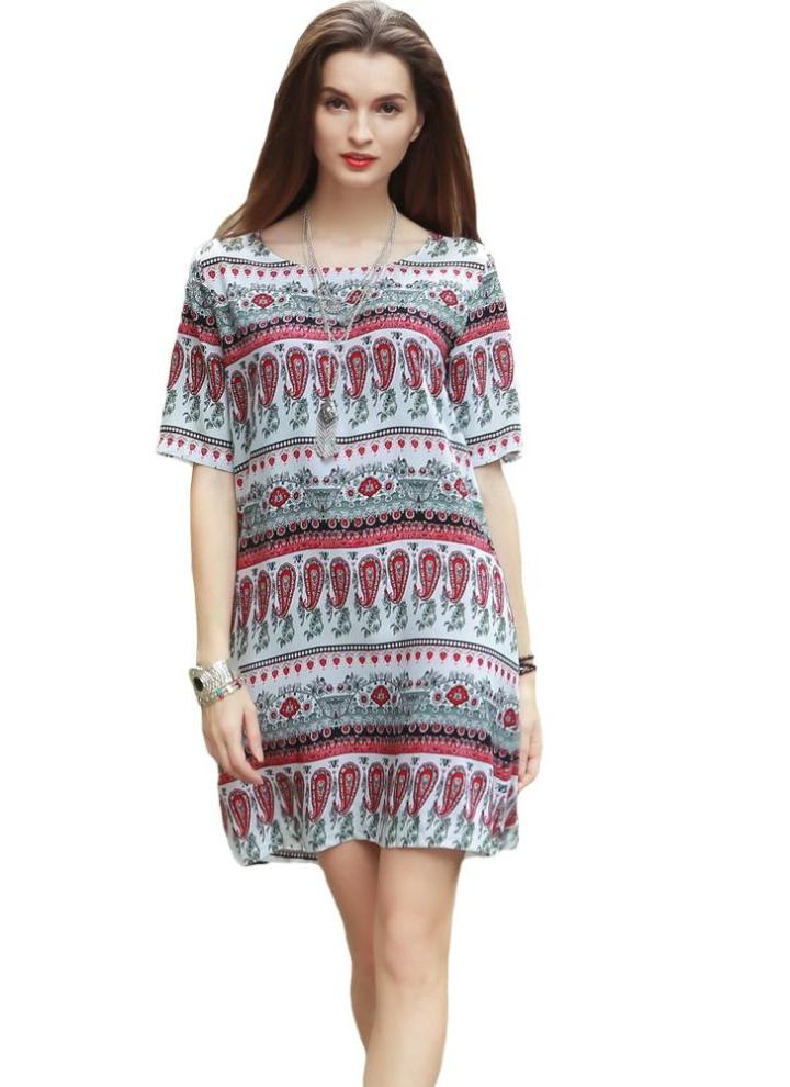 rot m Frauen Boho Style-Stammes- Druck kurzes Kleid Sundress kurze ...