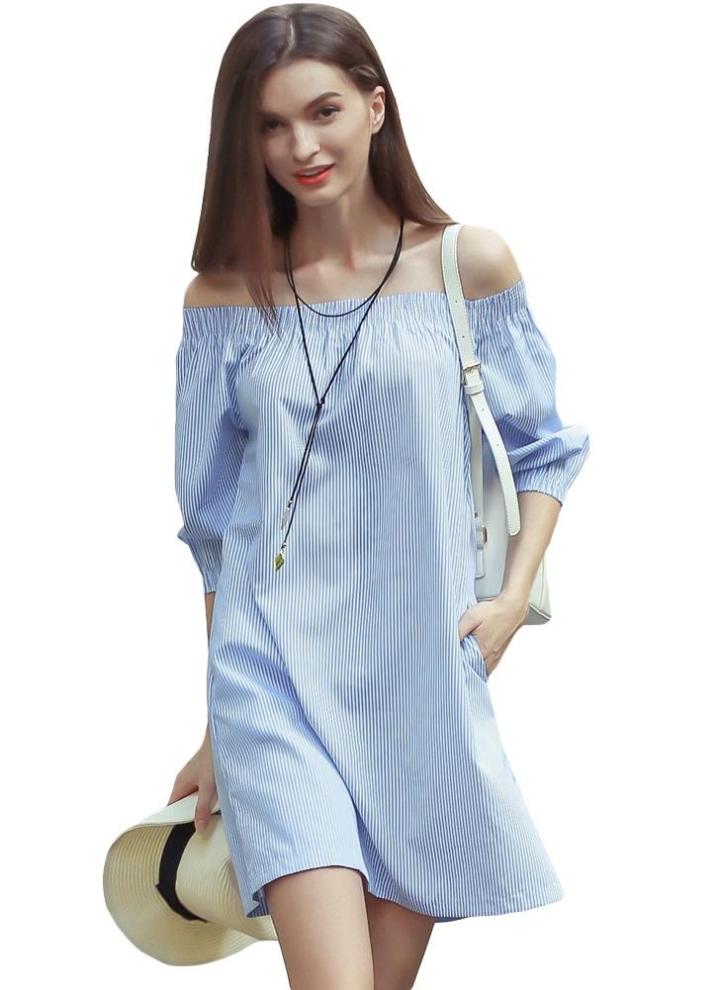 blau l Slash neue Art und Weise Frauen-Kleid-Ausschnitt Striped ...
