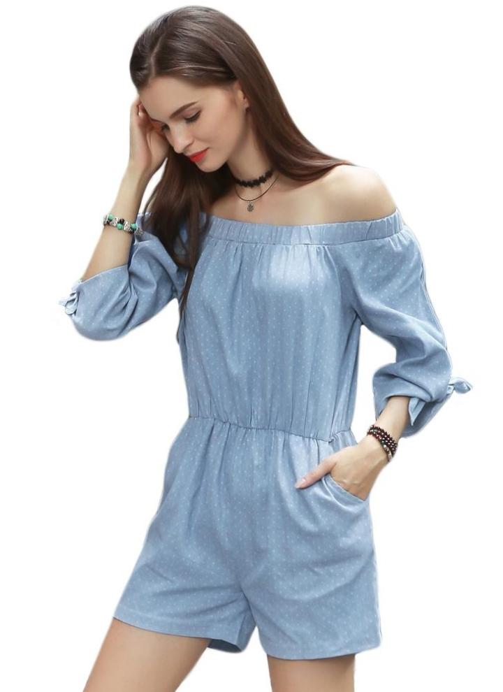 641f9b7e1 Moda algodón de las mujeres del hombro del punto del mono del brazo del  lazo elástico de la cintura Bolsillos mamelucos ocasionales azul