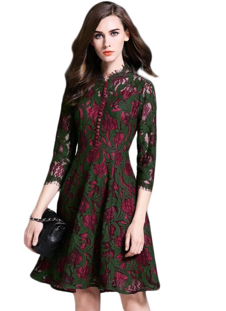 cdadd5c9ebc dark green m Retro Lace Hollow Out Floral Crochet Short Dress - Chicuu