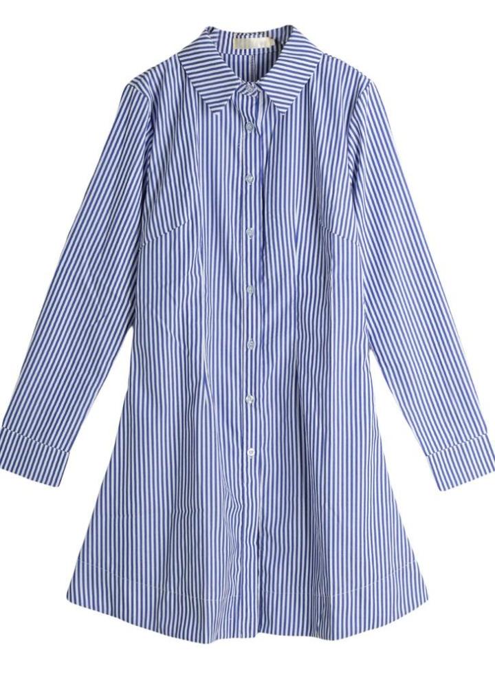 2573db26516ad Mujeres camiseta vestido rayado vertical vuelta-Abajo del botón de collar  de manga larga blusa