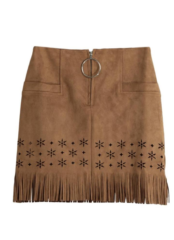 Las mujeres nuevos atractivos de la falda del cuero del ante de la borla  ahuecan hacia 3265815fb711