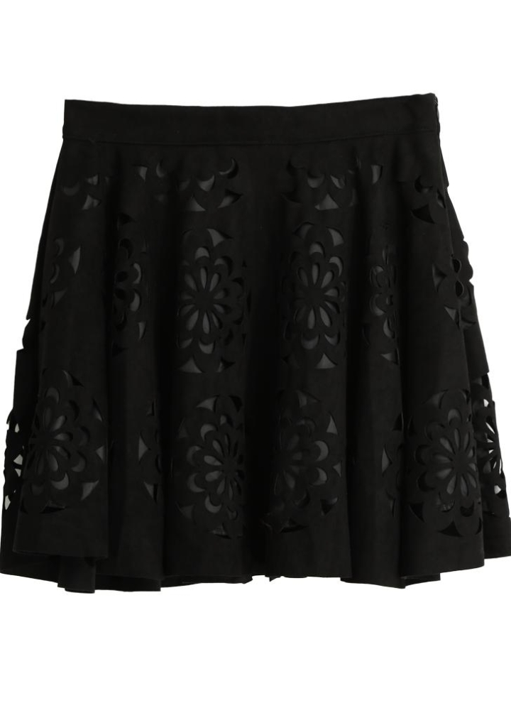 474b2bc69e4a Suede Lacer Cut Floral Pattern Side Zipper Slim Pleated Skirt
