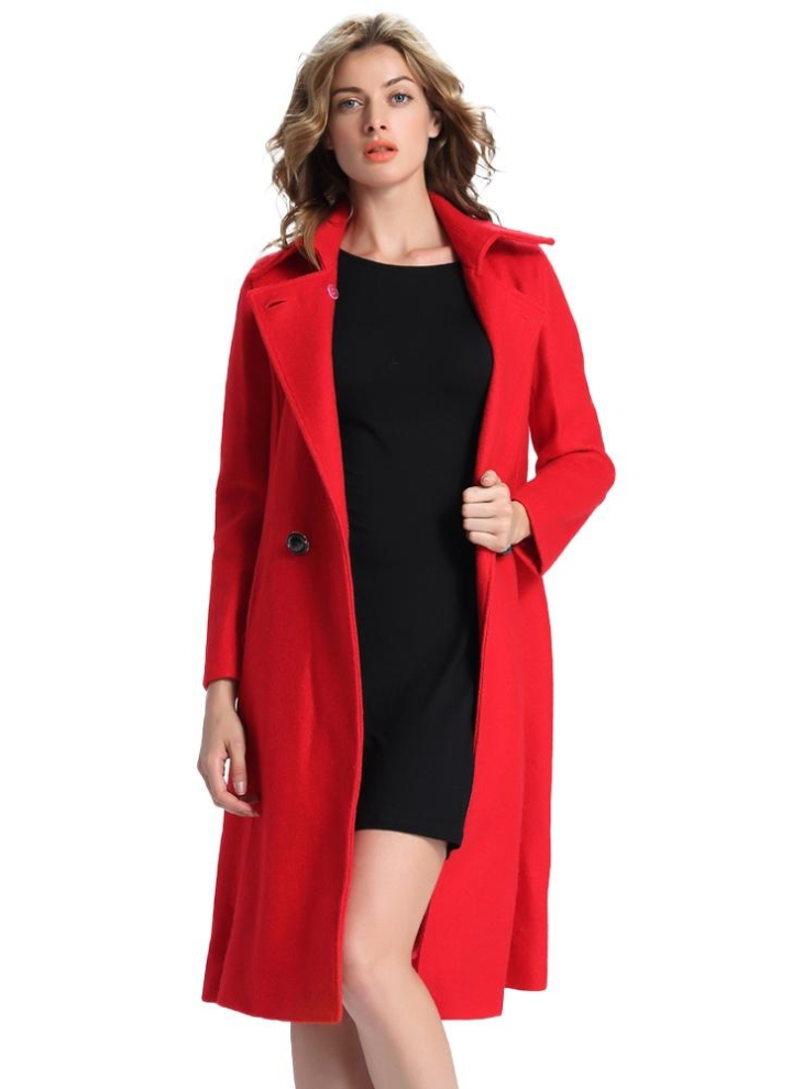 Frauen langer Mantel Wollmischung zweireihigen Taillen Bügel Taschen dünner Graben Mantel Outwear Lange Jacke Kamel Rot
