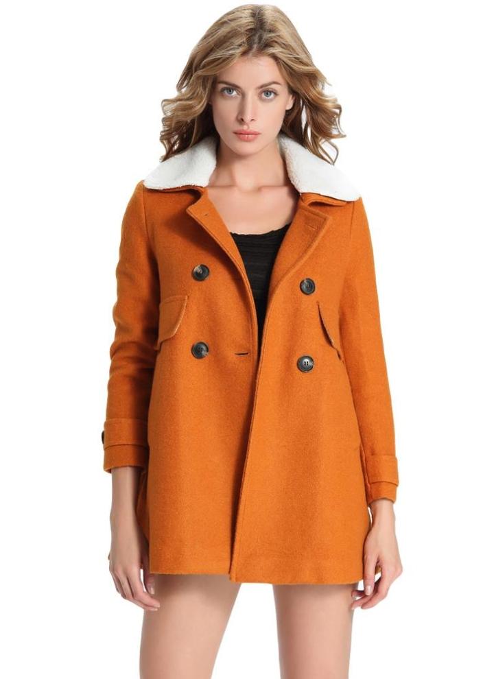 69f498175246d7 Le donne di lana del cappotto tasche staccabile colletto in pelliccia  sintetica Collare intaglio doppio petto