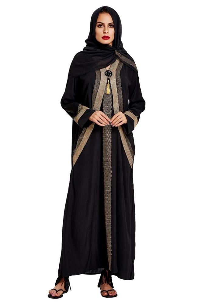 1fc1eba16a09 Anself contraste de la manera vestido de las mujeres Musulmán Color de  cuello en V manga larga Kaftan Abaya islámico Jilbab Robe con Hiyab Negro