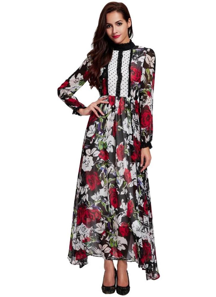 l Neue Art und Weise Frauen Chiffon-Kleid mit Blumenmuster Punkt ...