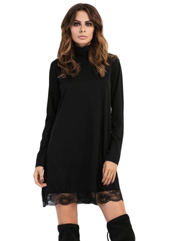 390d2bc2bc9a Modo delle donne di alta del collo del vestito pizzo a maniche lunghe  casuale partito Clubwear