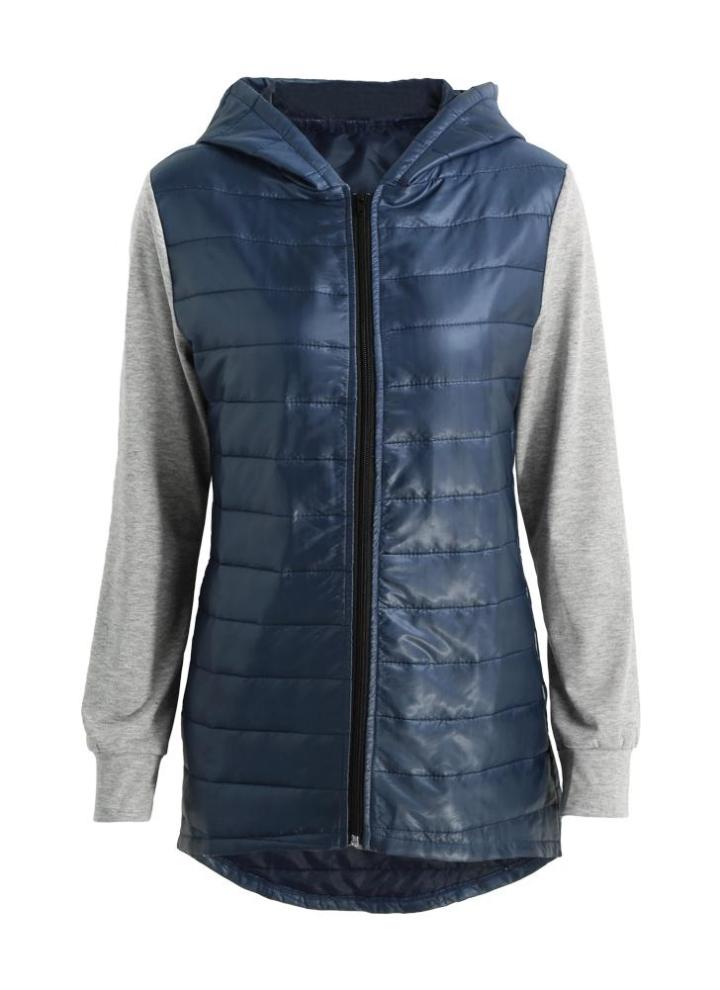 be36ff23965b Neue Art und Weise Frauen füllten Jacke mit Kapuze Mantel Splicing  Reißverschlusstaschen-hoch niedrige Rand