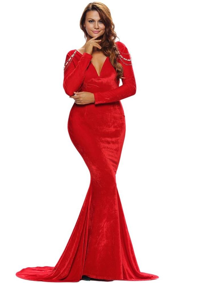 buy popular e5b66 14eda Catena elegante di sera del partito del velluto Donne abito con scollo a V  Backless Jeweled aderente Fishtail lungo della sirena maxi vestito rosso