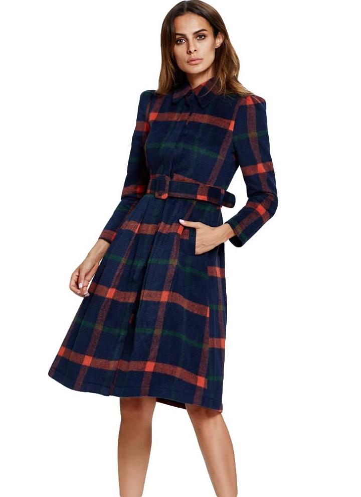 0cd16a1823f720 Vintage inverno delle donne Lattice cappotto lungo gira giù maniche lunghe  tasche soprabito della tuta sportiva