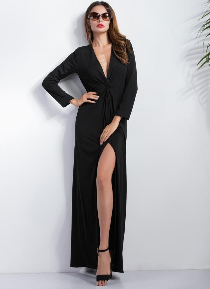 2583644eee Vestido Negro Nuevo atractivo de las mujeres Vestido largo de Split  profundo cuello en V manga