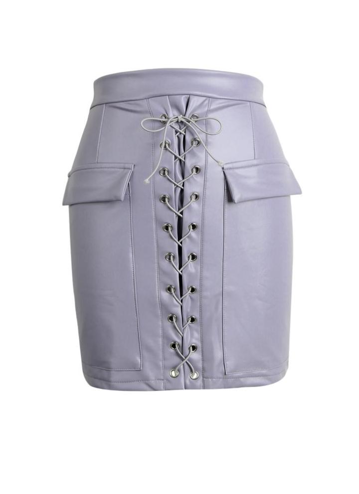 32e94de77 Moda PU de las mujeres Falda de cuero ajustado de encaje arriba bolsillos  con cremallera de alta cortocircuito de la cintura mini falda Negro / rosa  ...