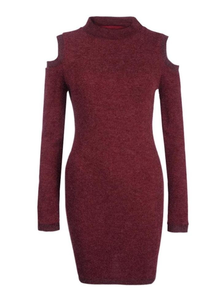 fd9ce99736 Sexy hombro invierno de las mujeres vestido de cuello alto suéter largo Off  Jumper Vestido ajustado